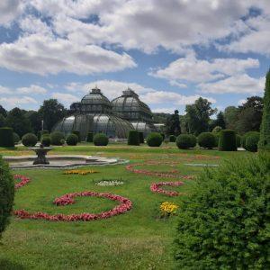 Palmenhaus Schönbrunn mit grüner Wiese und bunten Blumen im Vordergrund